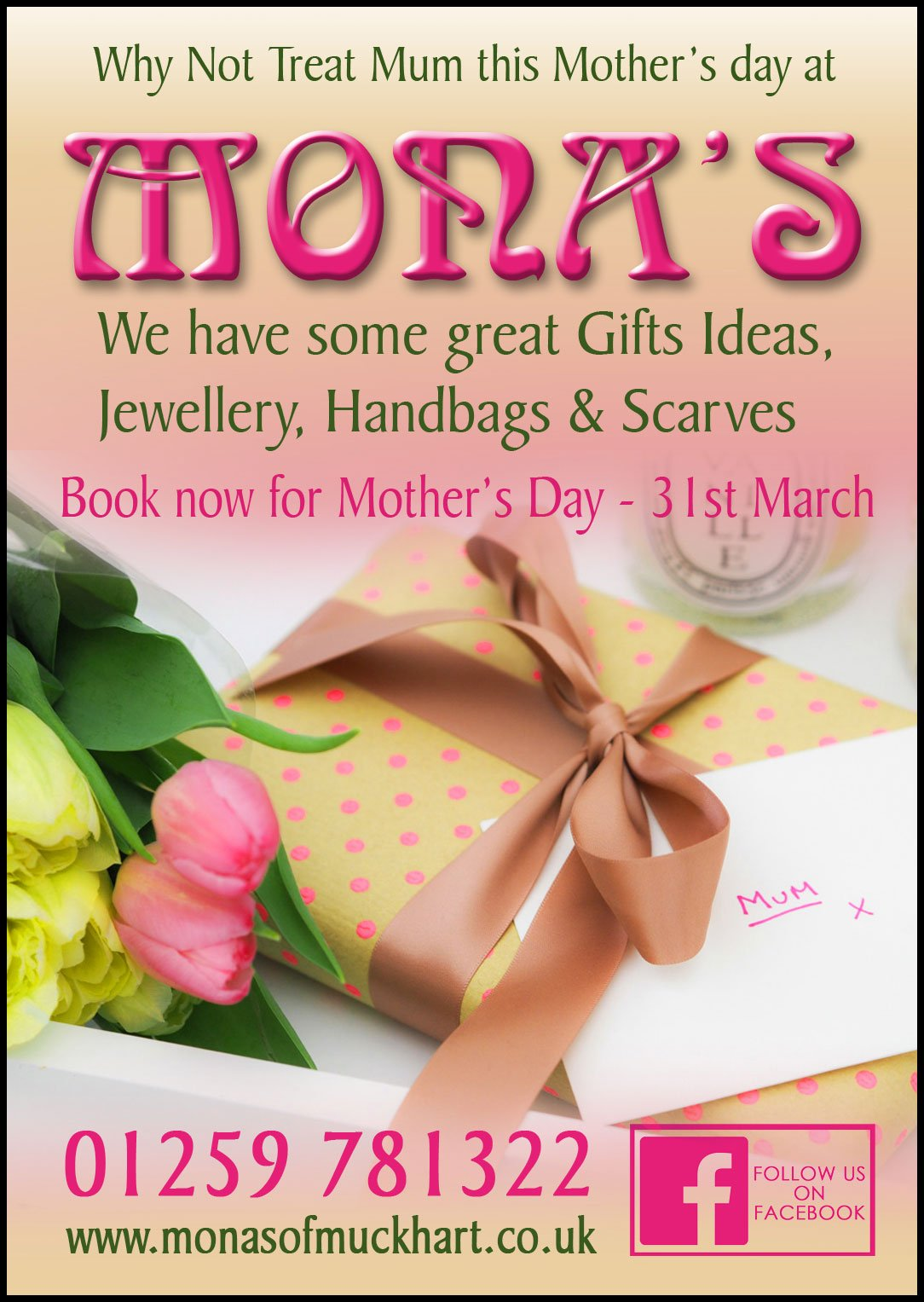Why not treat Mum this Mother's Day at Mona's of Muckhart