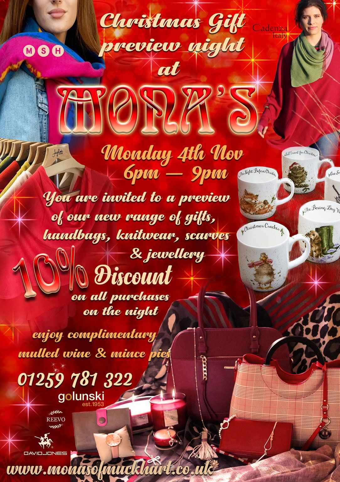 Christmas Gift Preview Night at Mona's of Muckhart